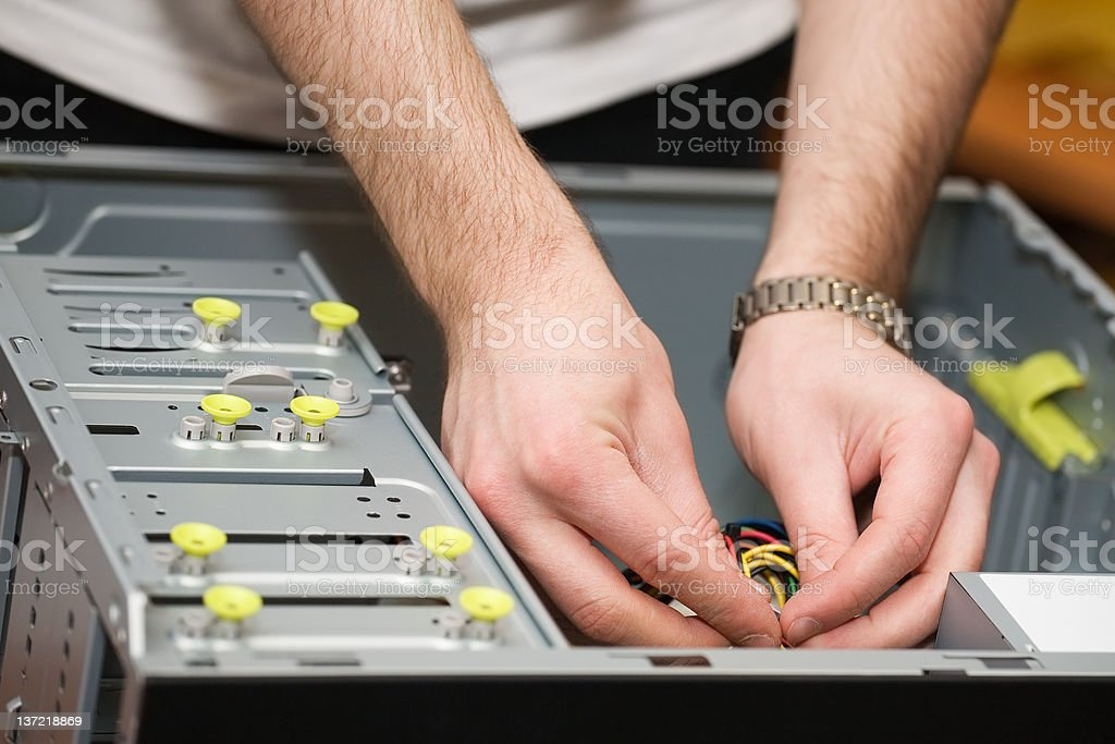 Hands in computer royalty-free stock photo