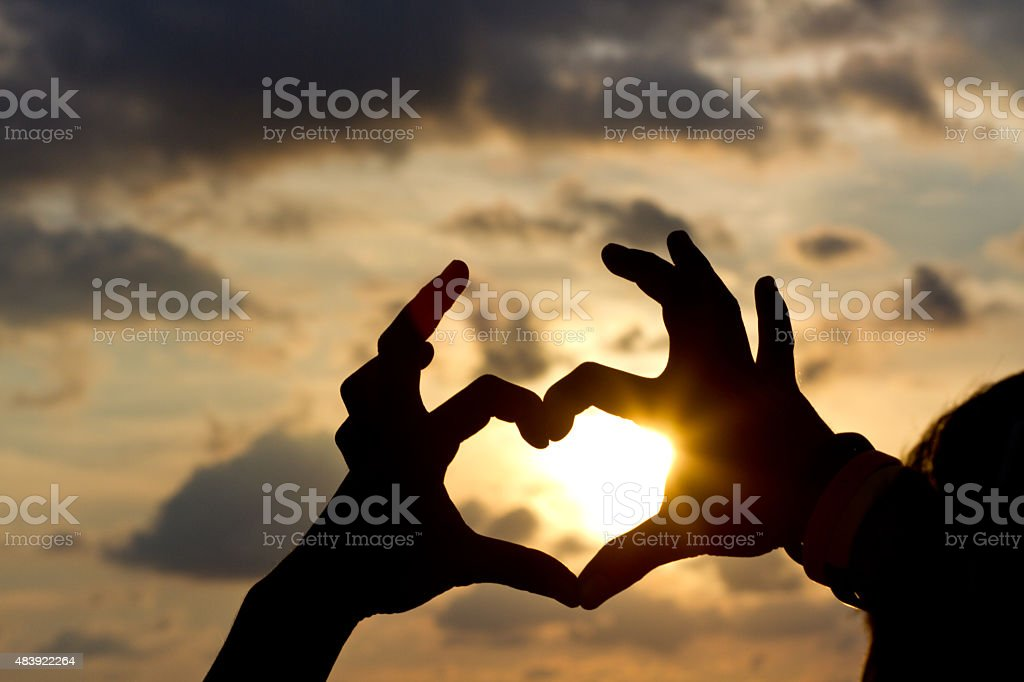 Hands in heart shape stock photo