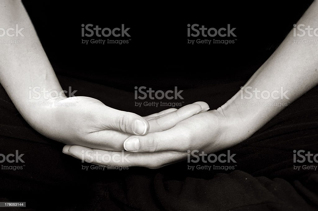 Hands in meditation royalty-free stock photo