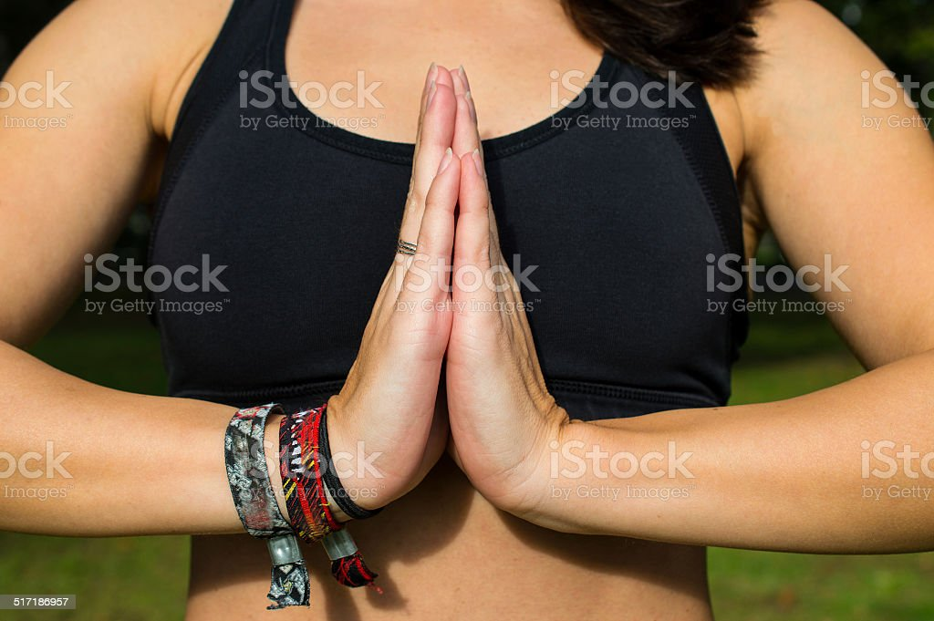 Hands in Namaste prayer mudra stock photo