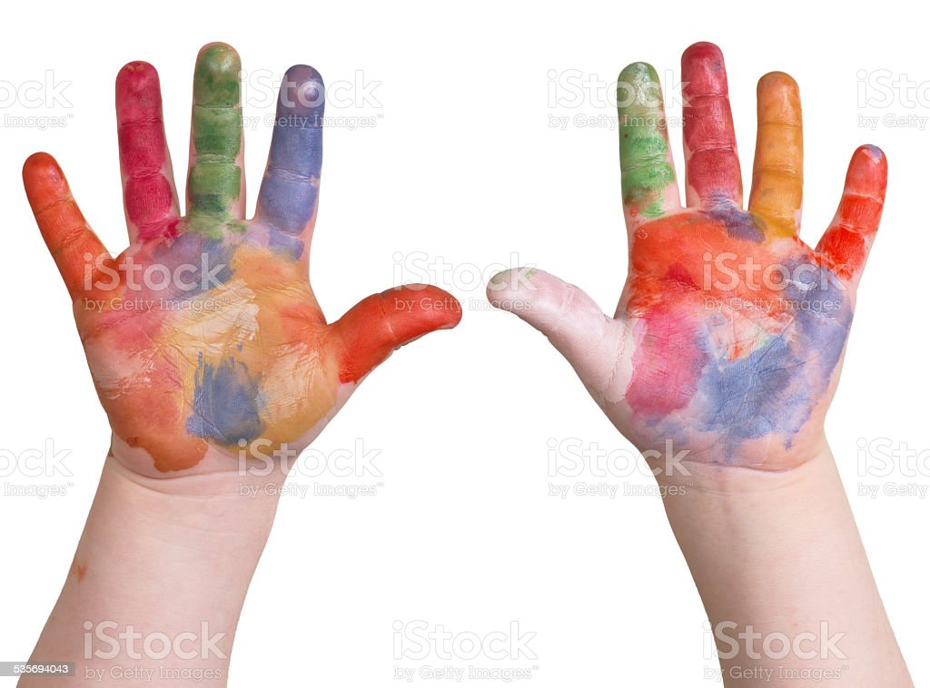 hands in paint stock photo