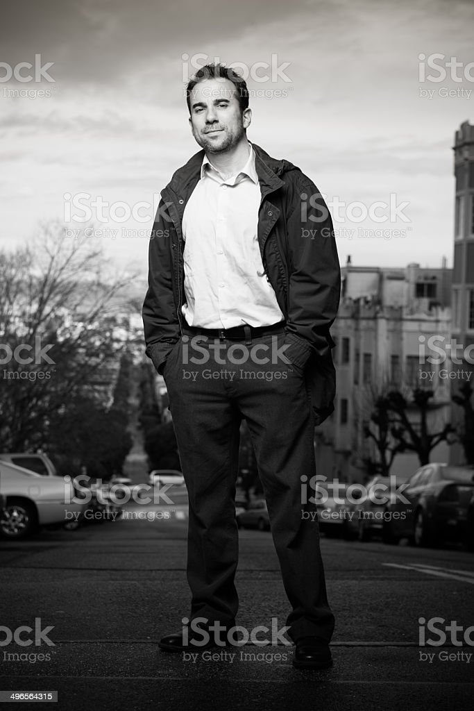 Hands in Pockets on San Francisco Street royalty-free stock photo