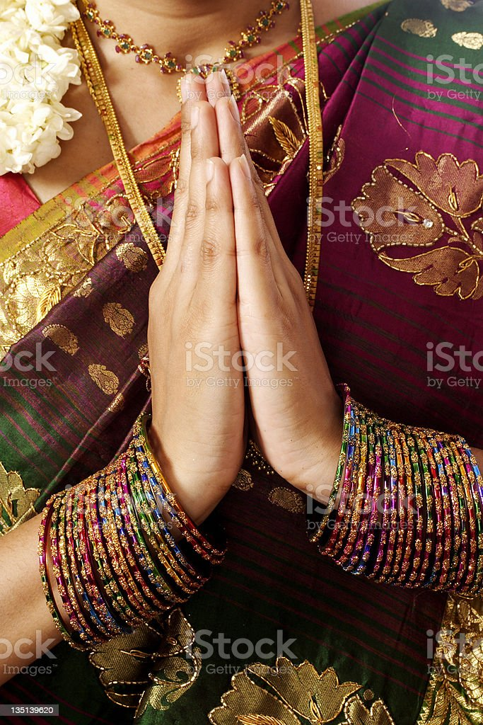 Hands in prayer position stock photo