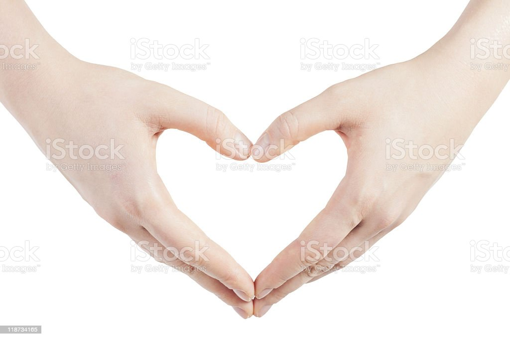 hands in shape of heart royalty-free stock photo