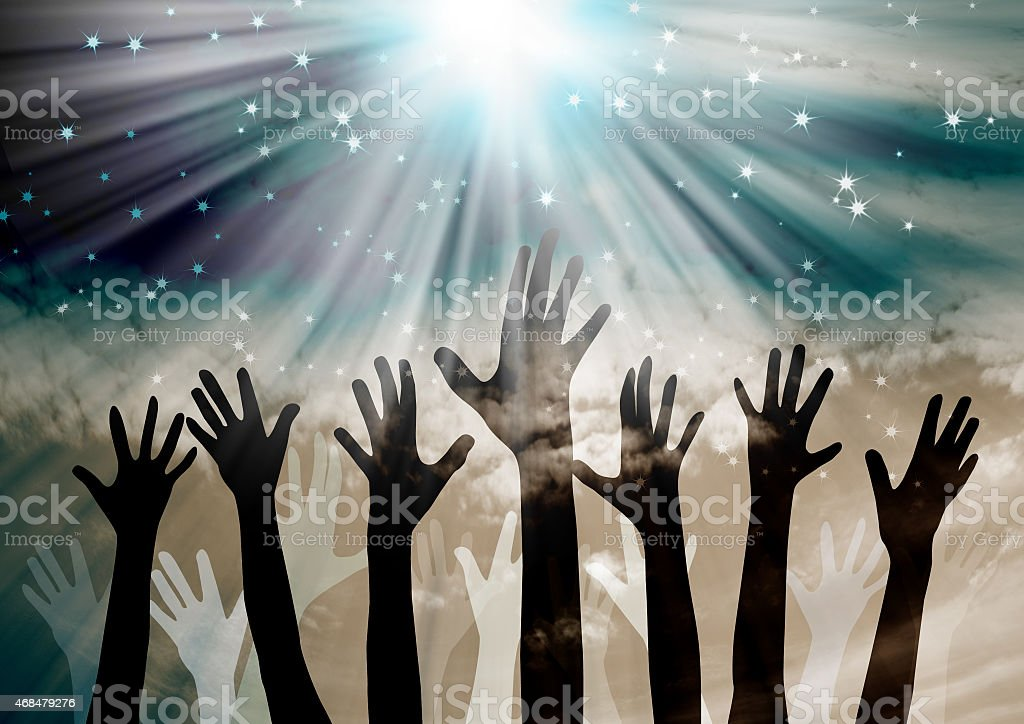 Hands in the air for a celebration stock photo