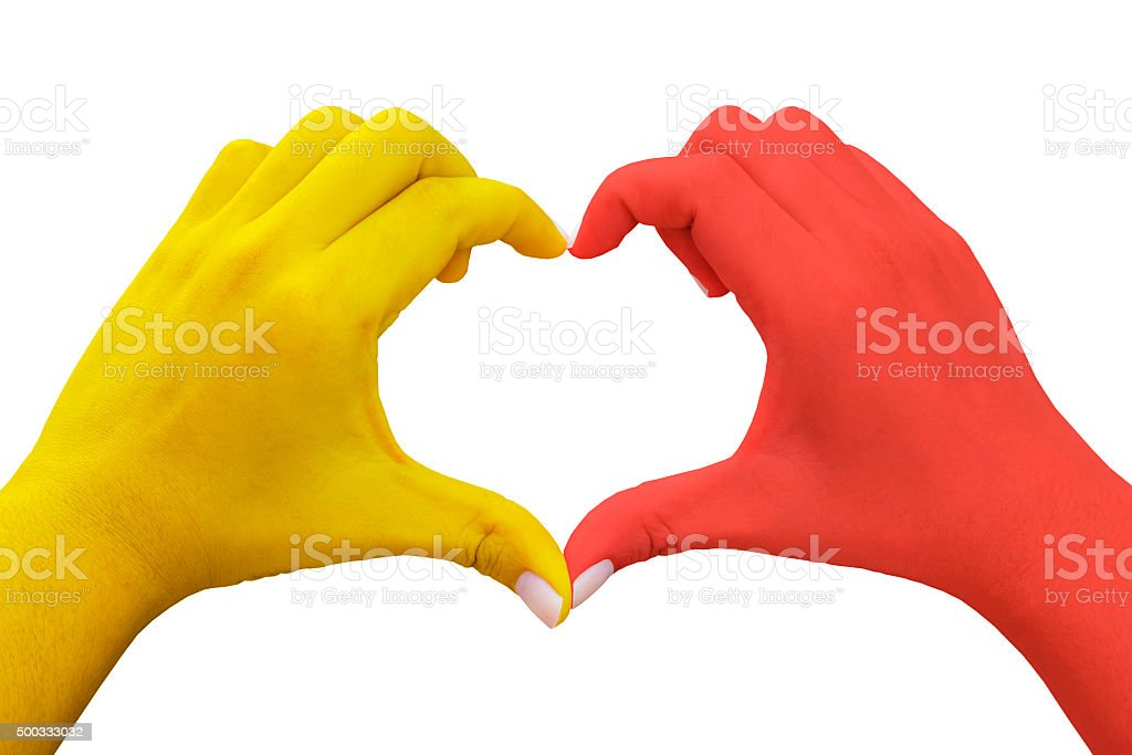 hands in the shape of heart stock photo