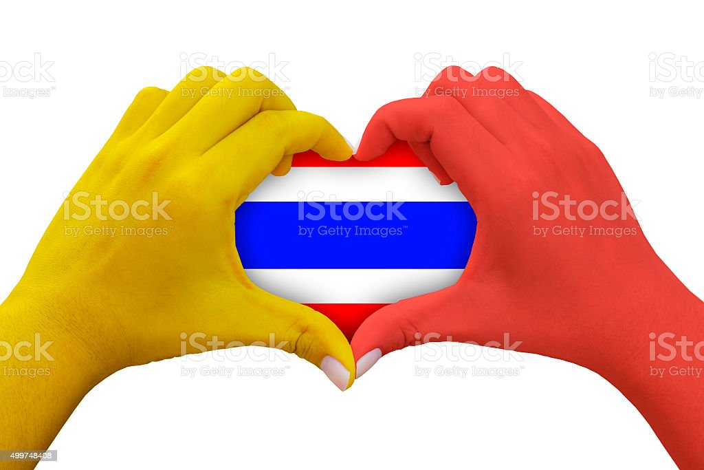 hands in the shape of heart with thailand flag symbol stock photo