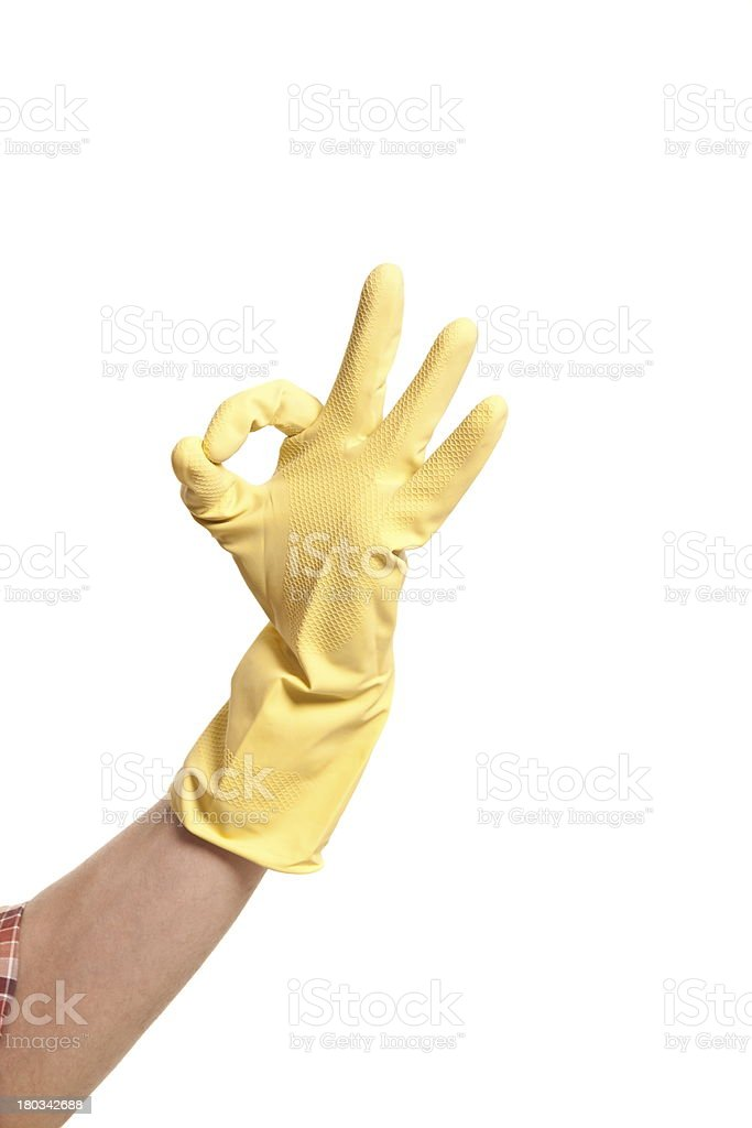 hands in yellow gloves isolated on white royalty-free stock photo