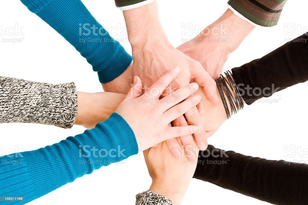 Hands joined together royalty-free stock photo
