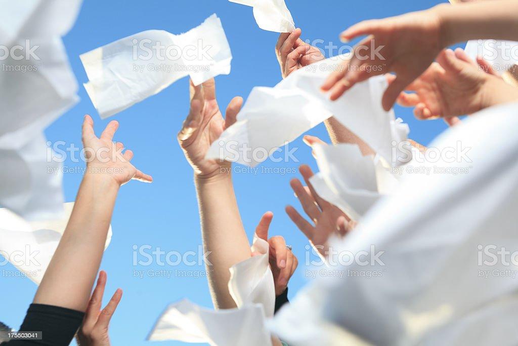 Hands Kleenex on Sky stock photo