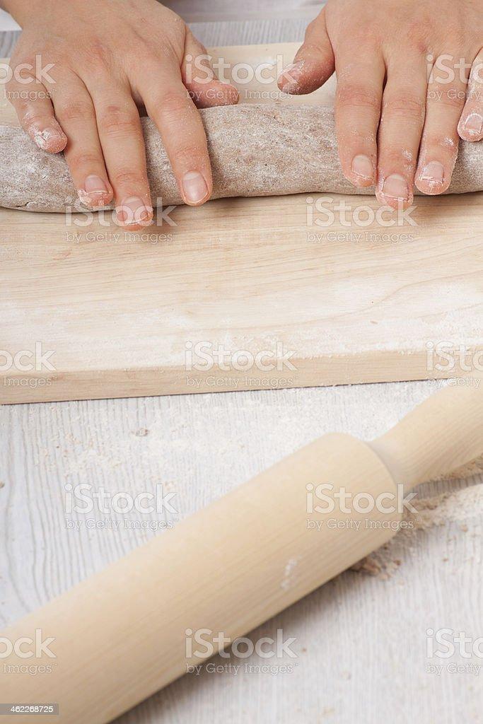 hands knead rye dough royalty-free stock photo