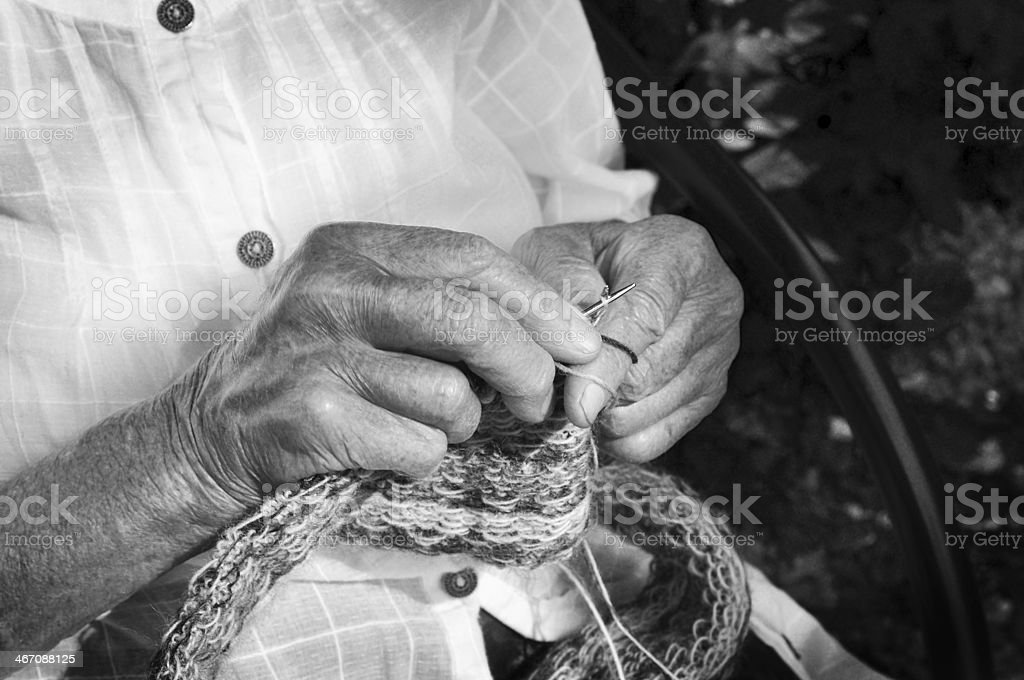 Hands knitting royalty-free stock photo