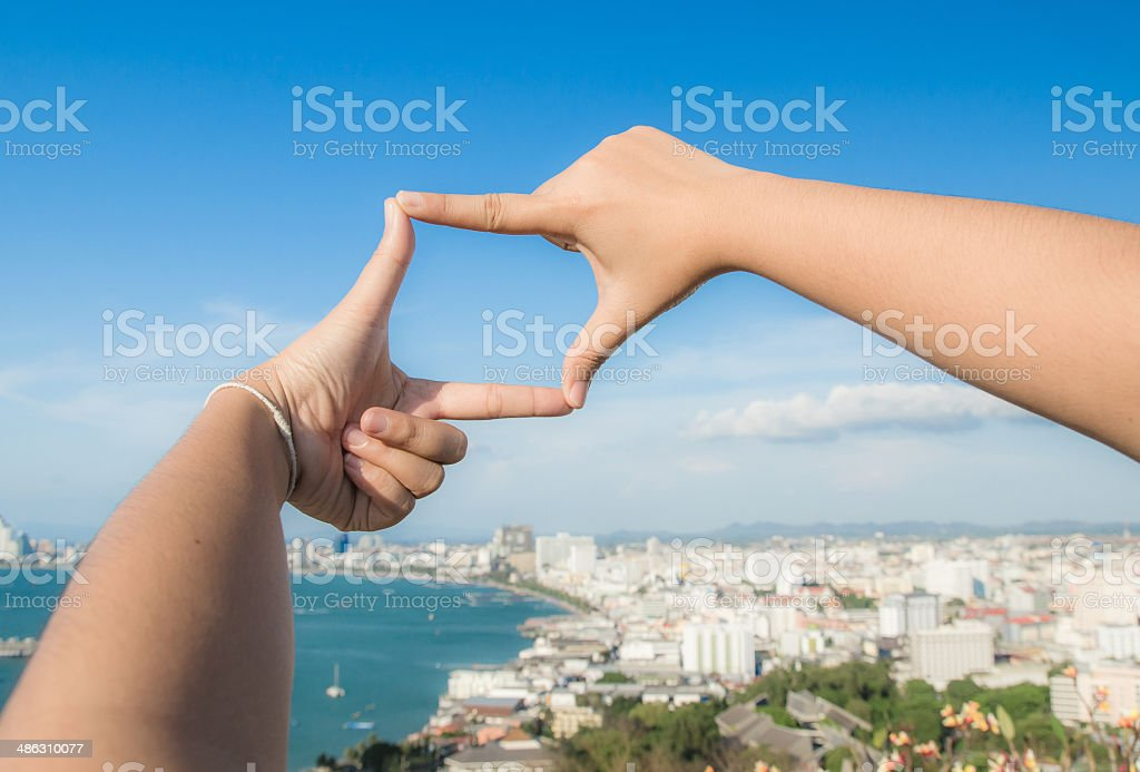 Hands making a frame in the sky royalty-free stock photo
