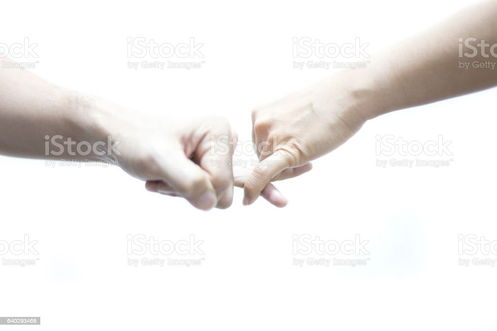 Hands men and female feeling reconcile on white background stock photo