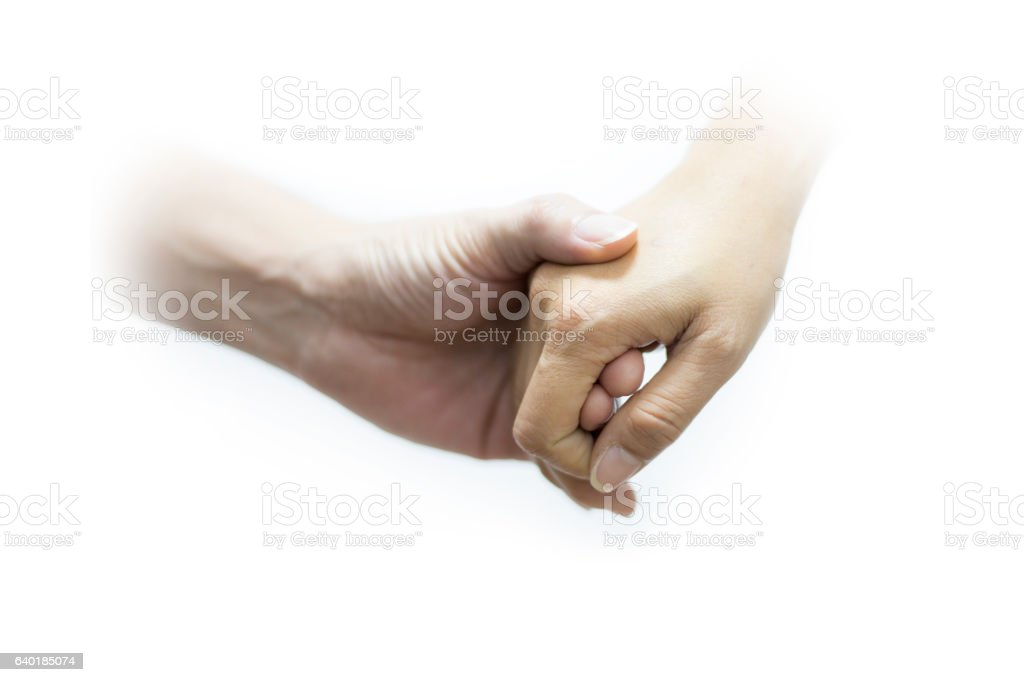 Hands men and female on white background stock photo