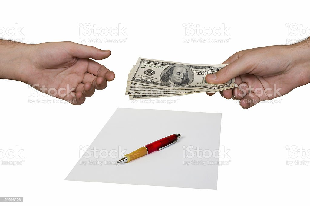 Hands, money and contract royalty-free stock photo