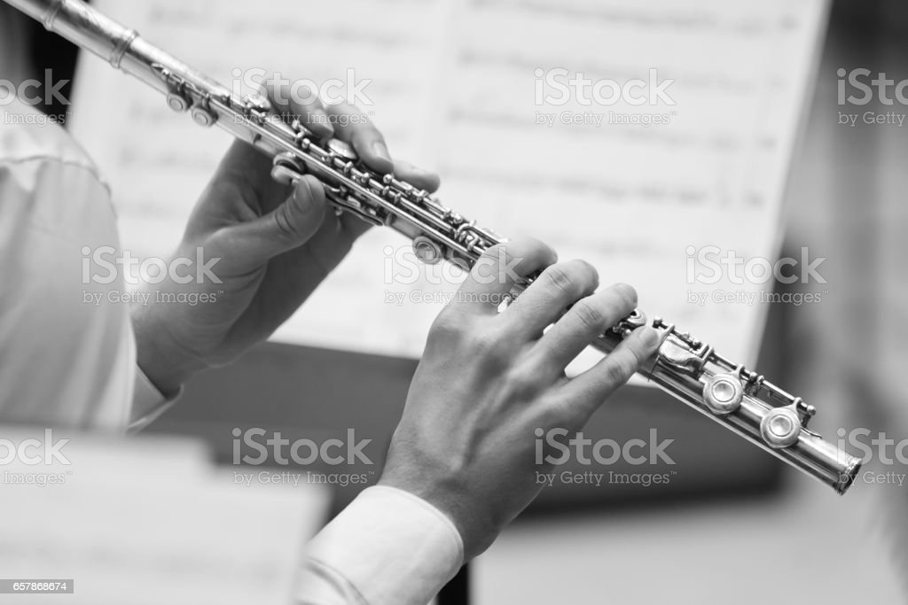 Hands musician playing the flute stock photo
