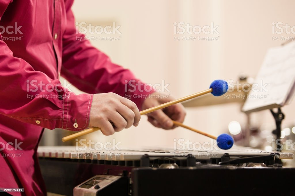 Hands musician playing the vibraphone stock photo