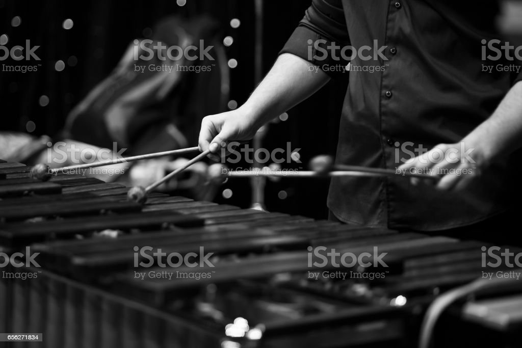 Hands musician playing the xylophone stock photo