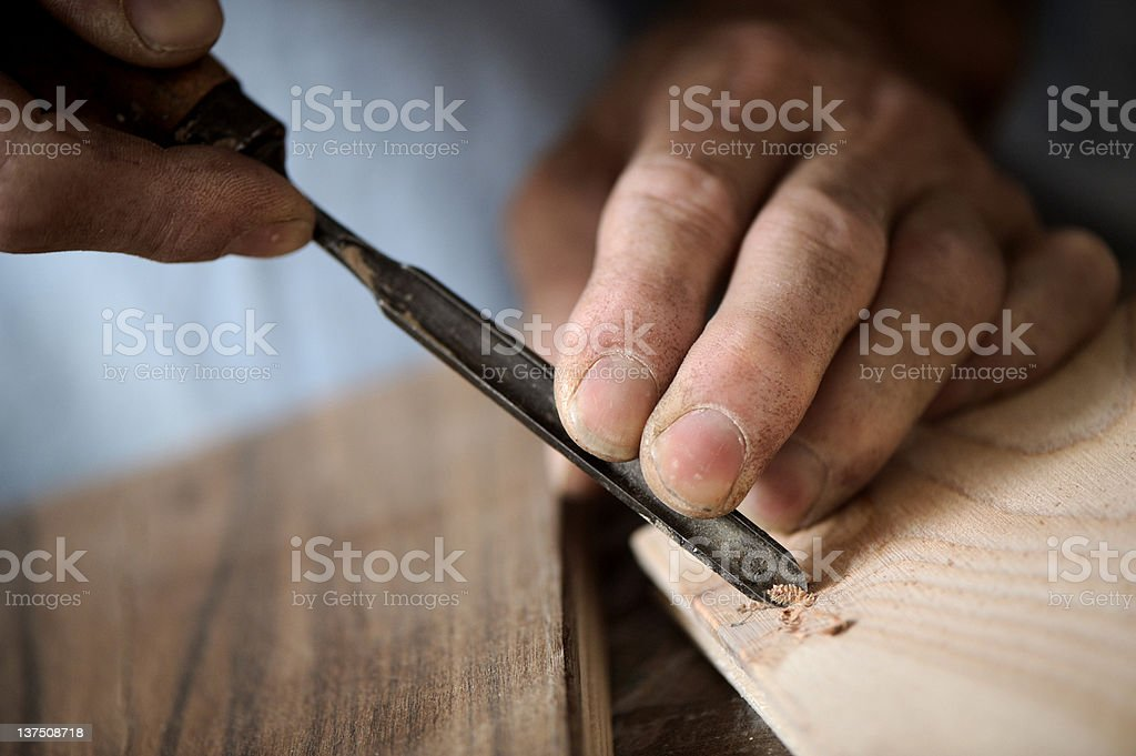 Mains d'un Charpentier photo libre de droits