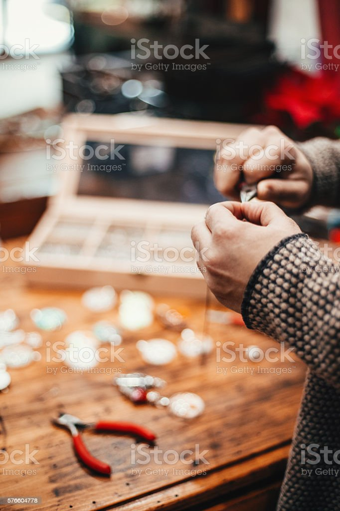 Hands of a craftpeson stock photo