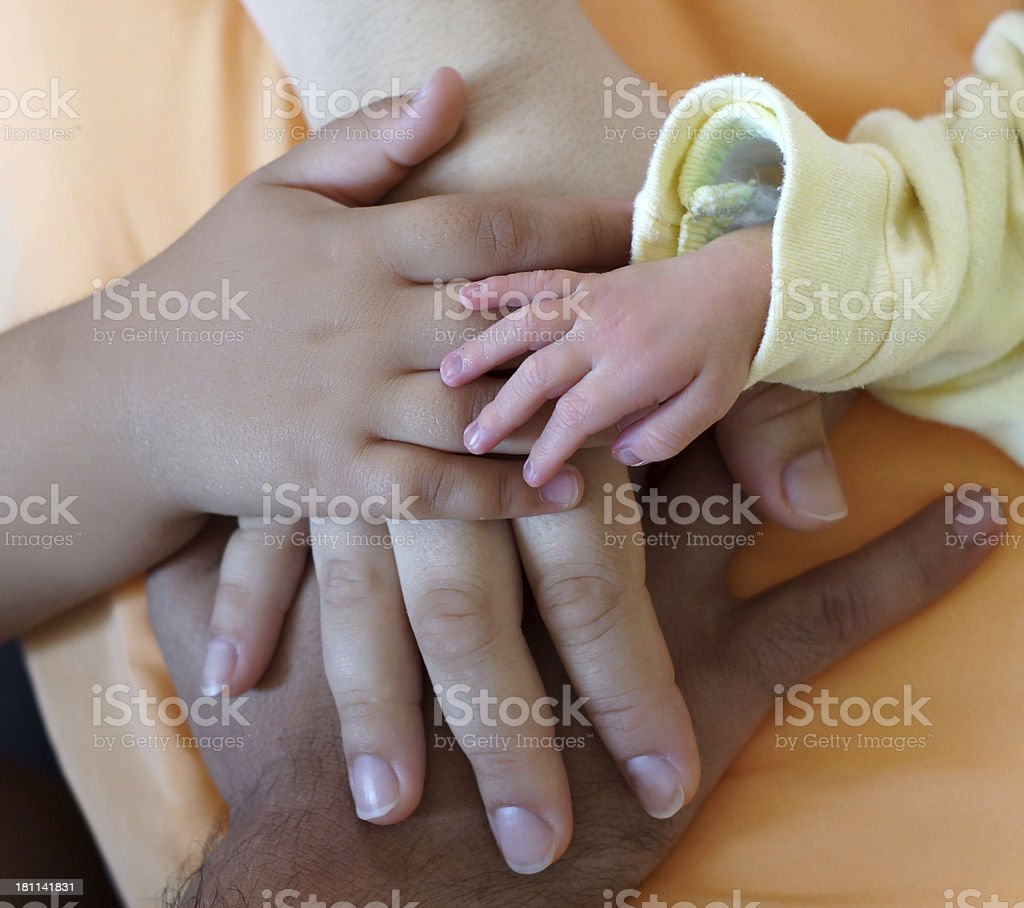 Hands of a family royalty-free stock photo