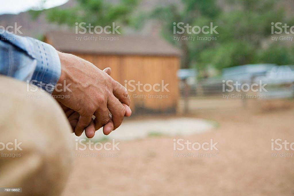 Hands of a man at ranch royalty-free stock photo