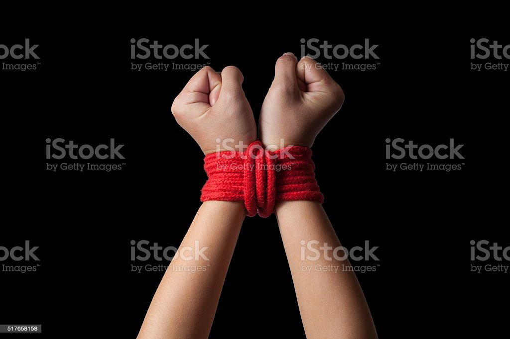 Hands of a missing kidnapped stock photo