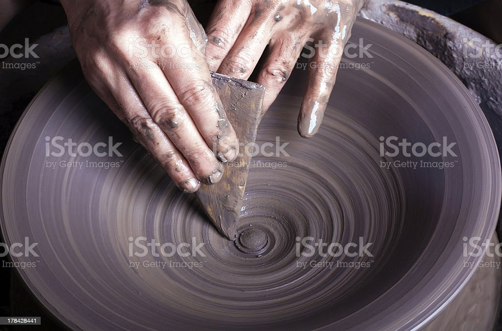 hands of a potter royalty-free stock photo