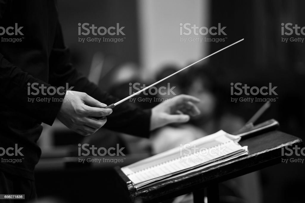 Hands of conductor stock photo