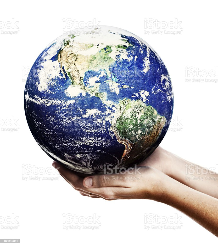 Hands of eco warrior cradle Planet Earth gently: someone cares! stock photo
