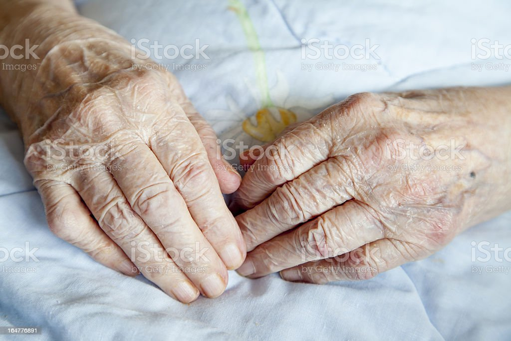Hands of elderly lady royalty-free stock photo