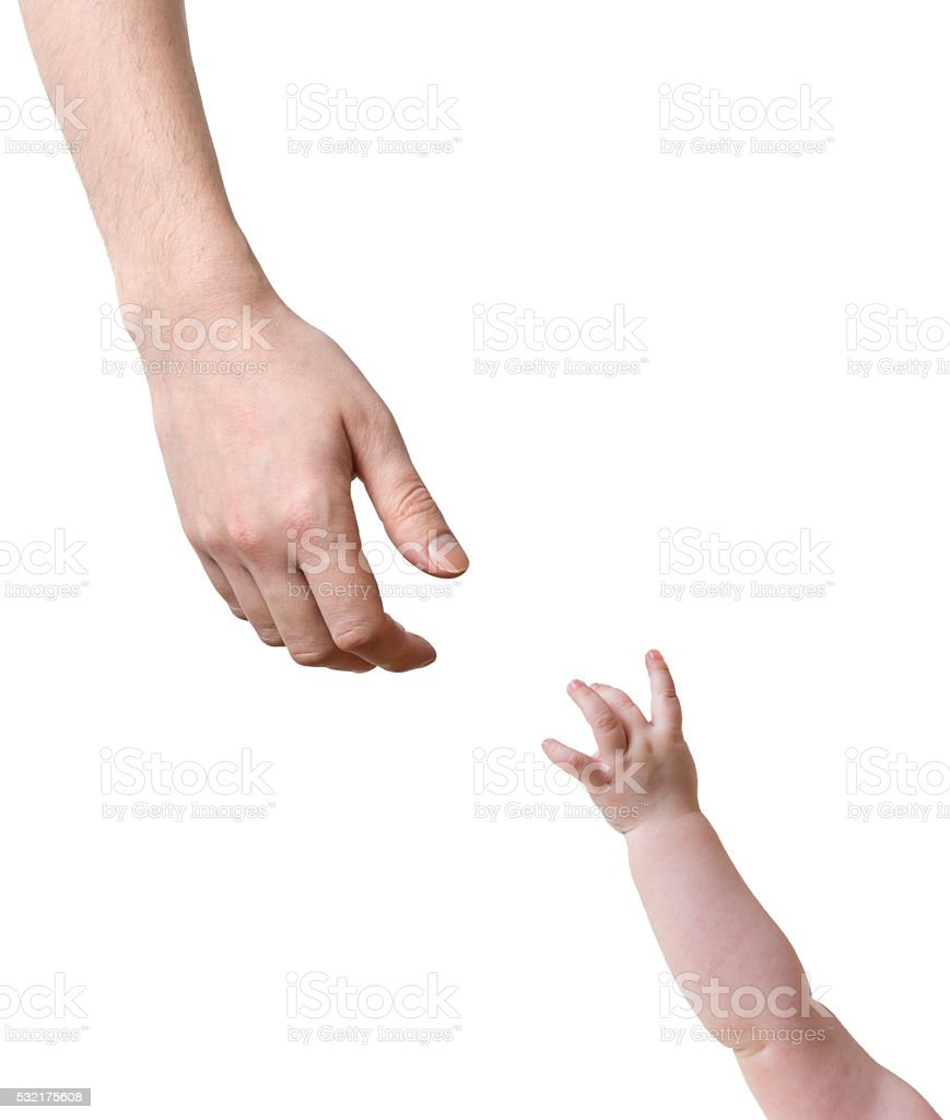 Hands of father and baby stretching to each other. stock photo