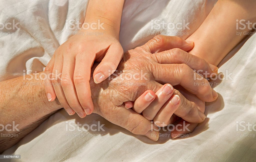 hands of grandmother and grandchild in the bed stock photo