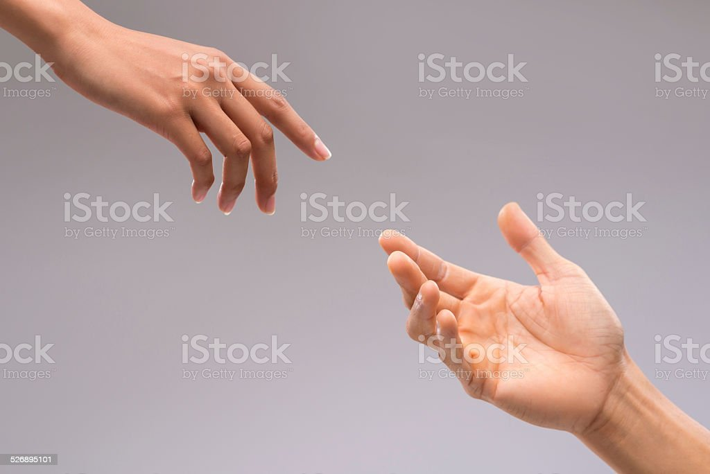 Hands of man and woman stock photo