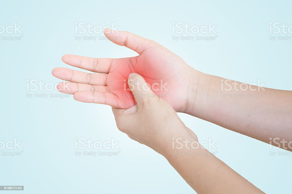 Hands of men or women Injury on the palm stock photo