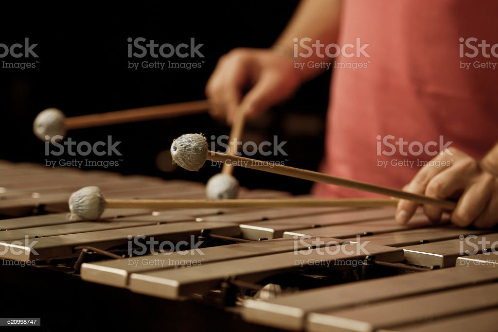 Hands of musician playing the vibraphone stock photo