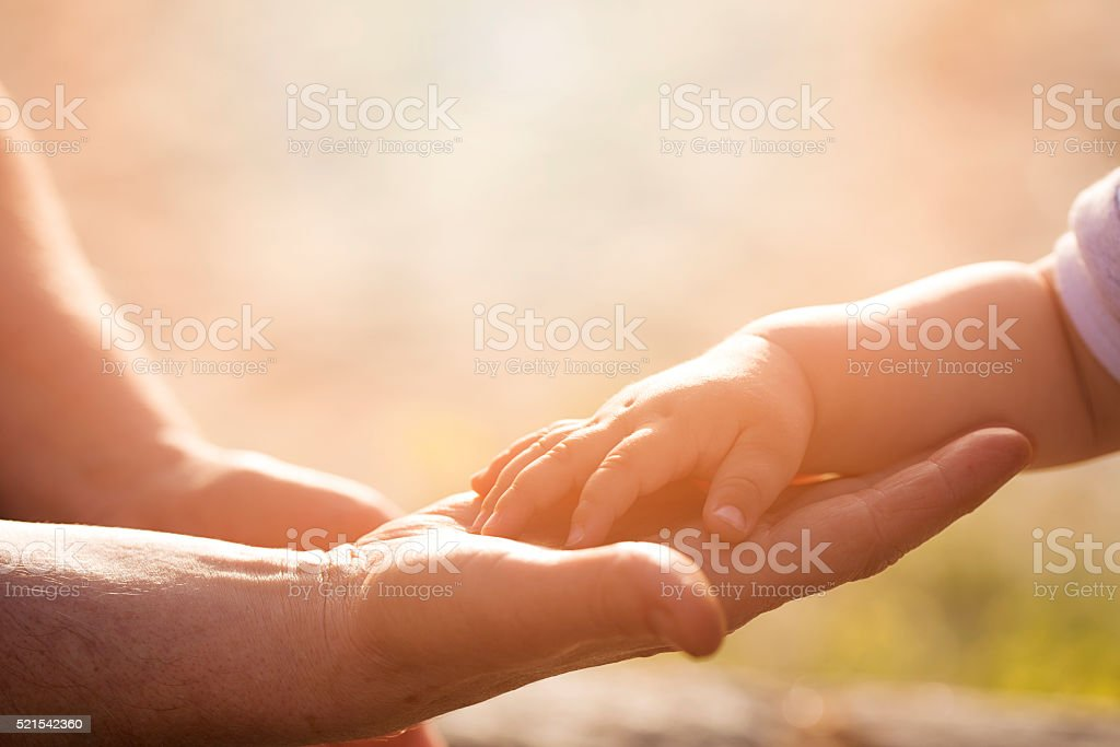 hands of old and young stock photo