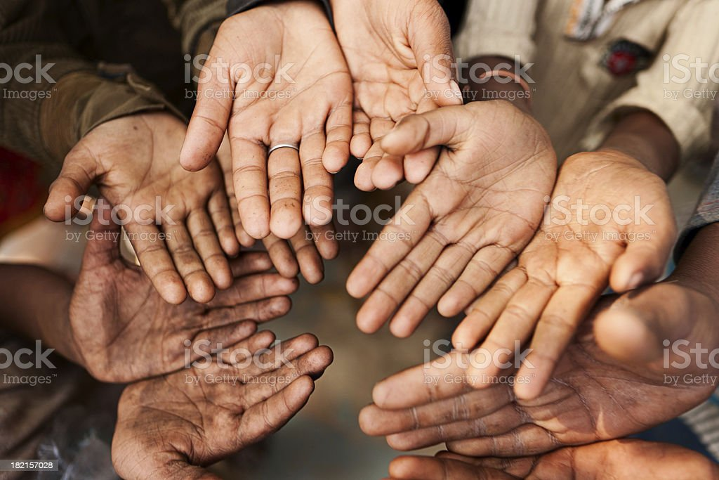 Hands of poor, India royalty-free stock photo