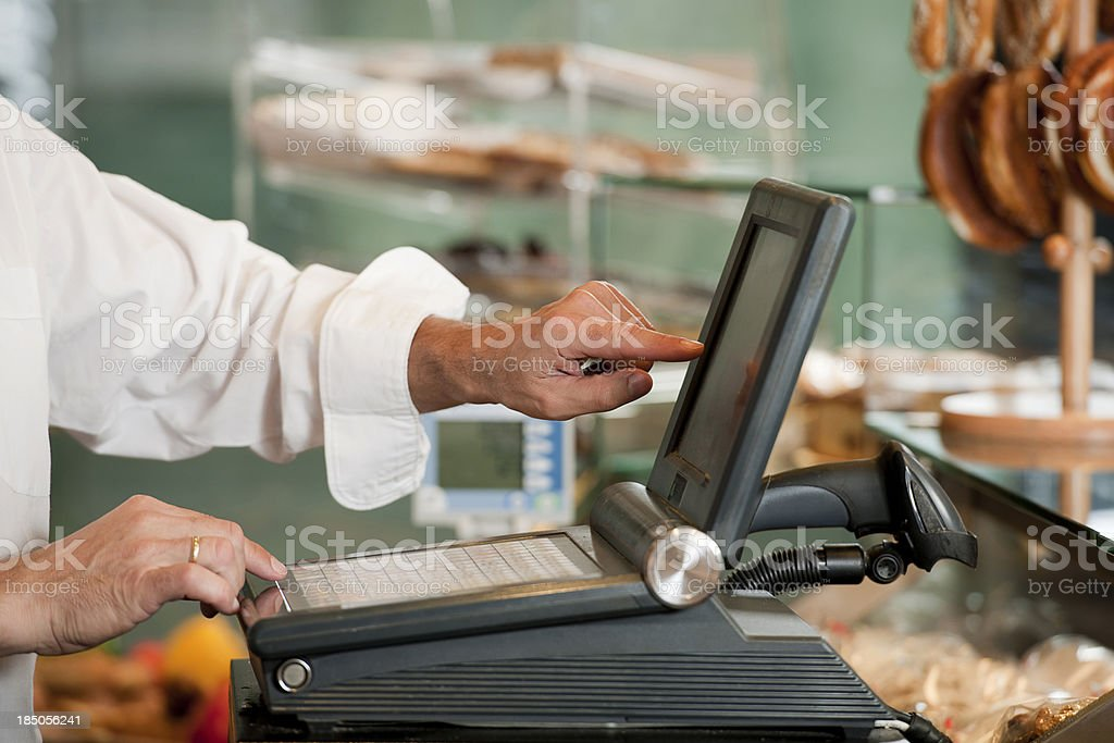 Hands of sales executive  with cash royalty-free stock photo