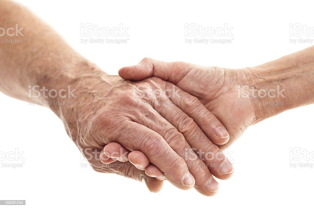 hands of seniors stock photo