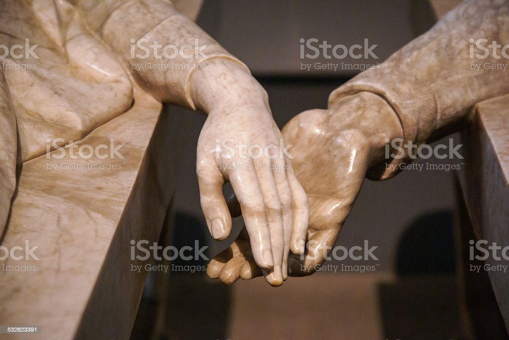 Hands of Teruel's lovers, Teruel, Aragon, Spain stock photo