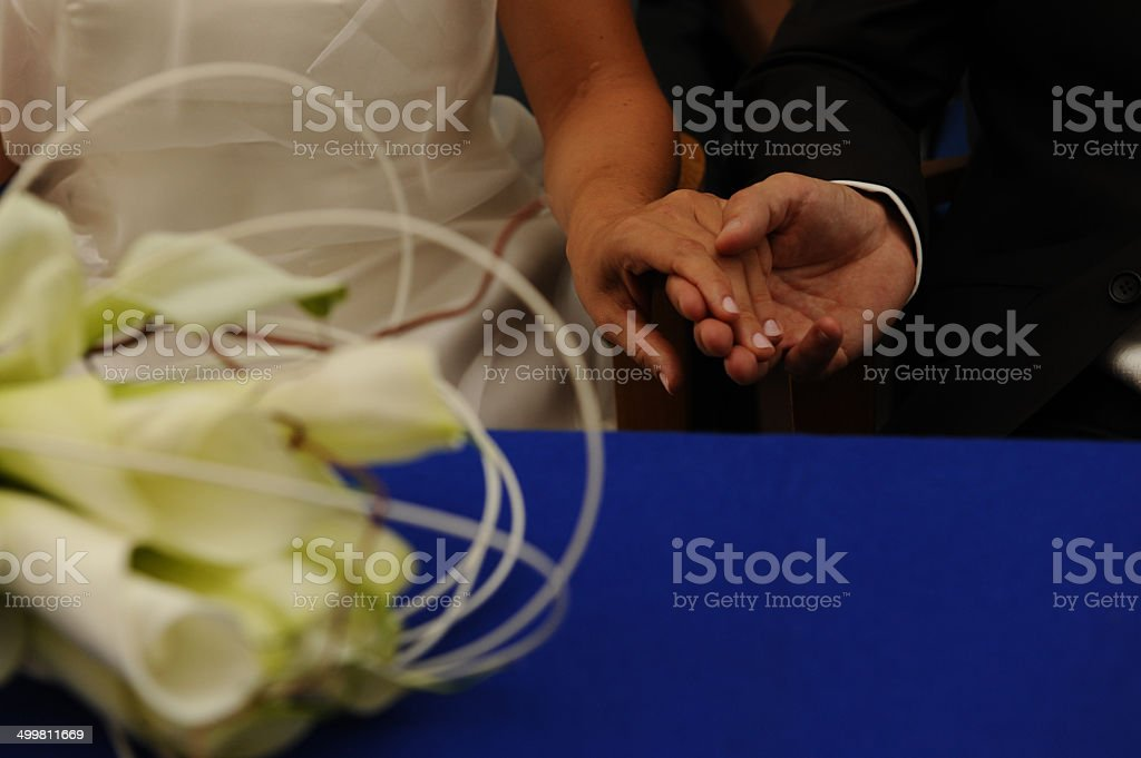 Hands of the bridegrooms in the city hall stock photo