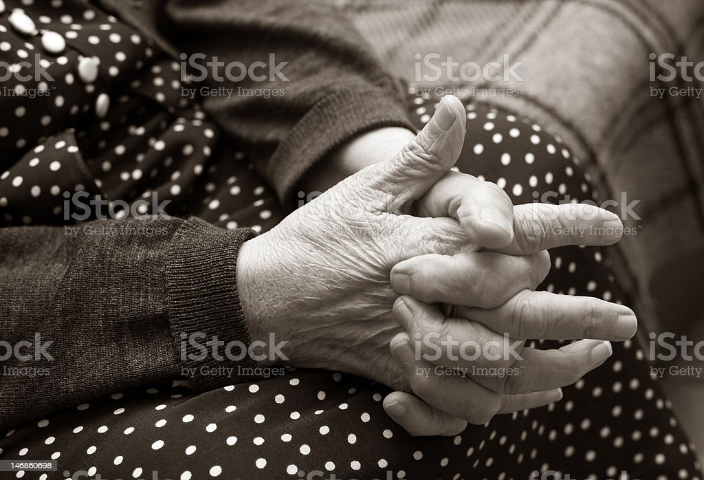 Hands of the elderly woman royalty-free stock photo