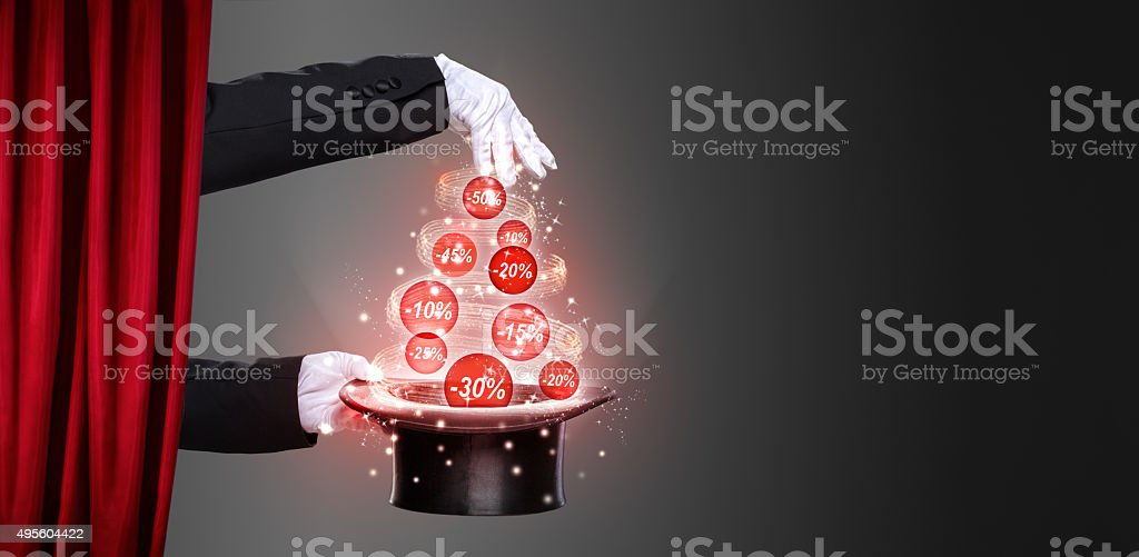 Hands of the magician and top hat on stage stock photo