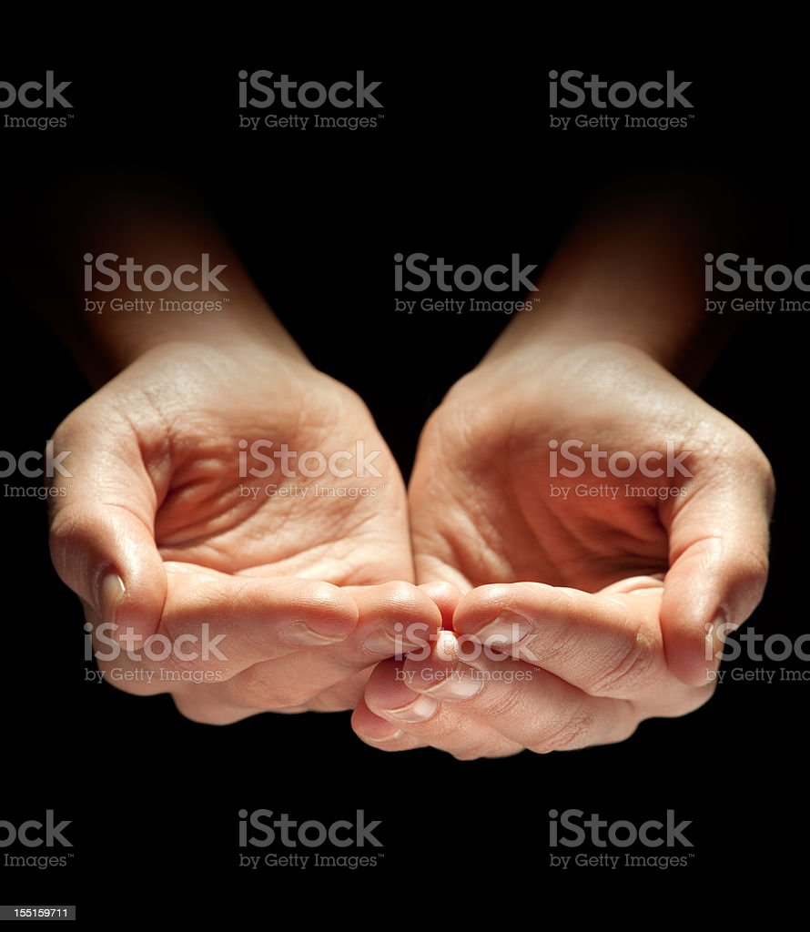Hands of the Needy, Poor or Homeless royalty-free stock photo