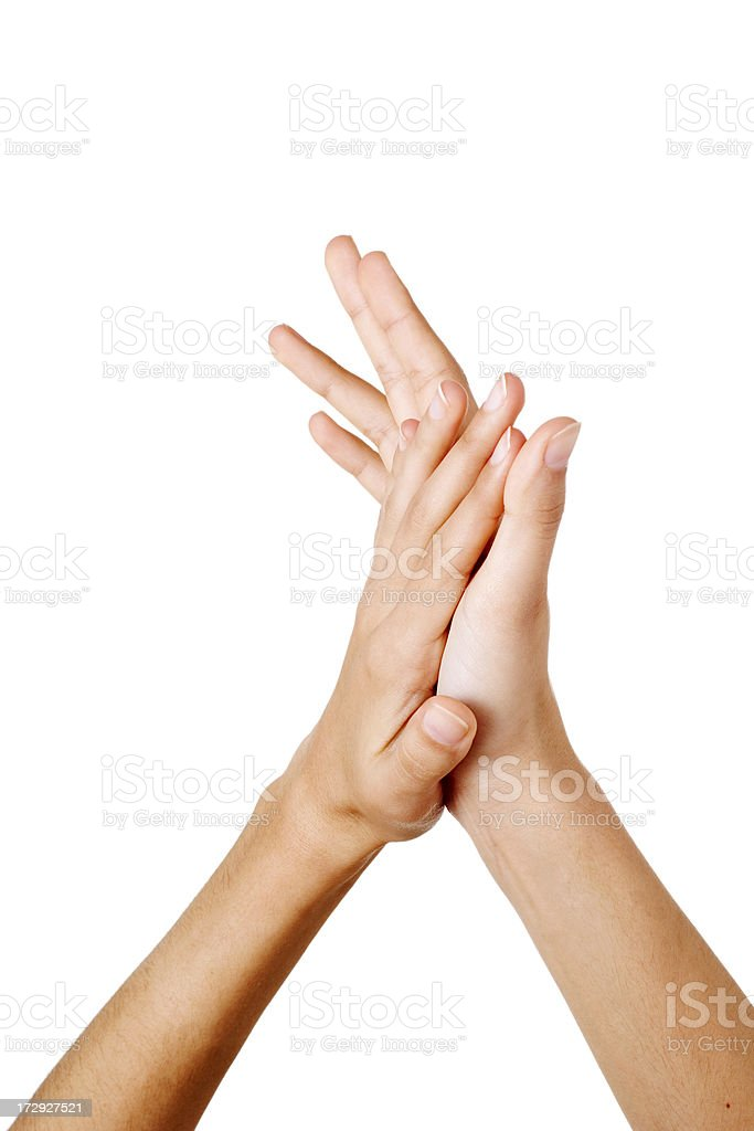hands of woman gesturing applause royalty-free stock photo
