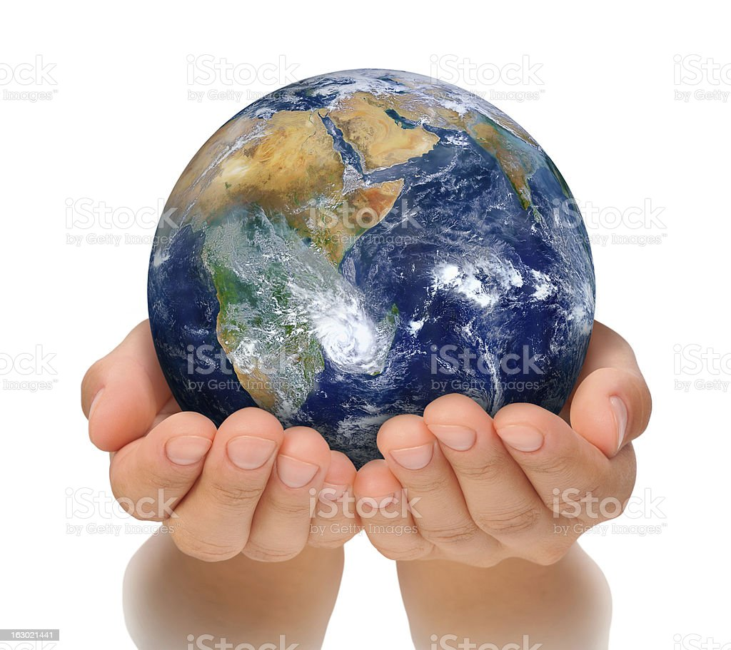 Hands of woman holding globe, Africa and Near East royalty-free stock photo