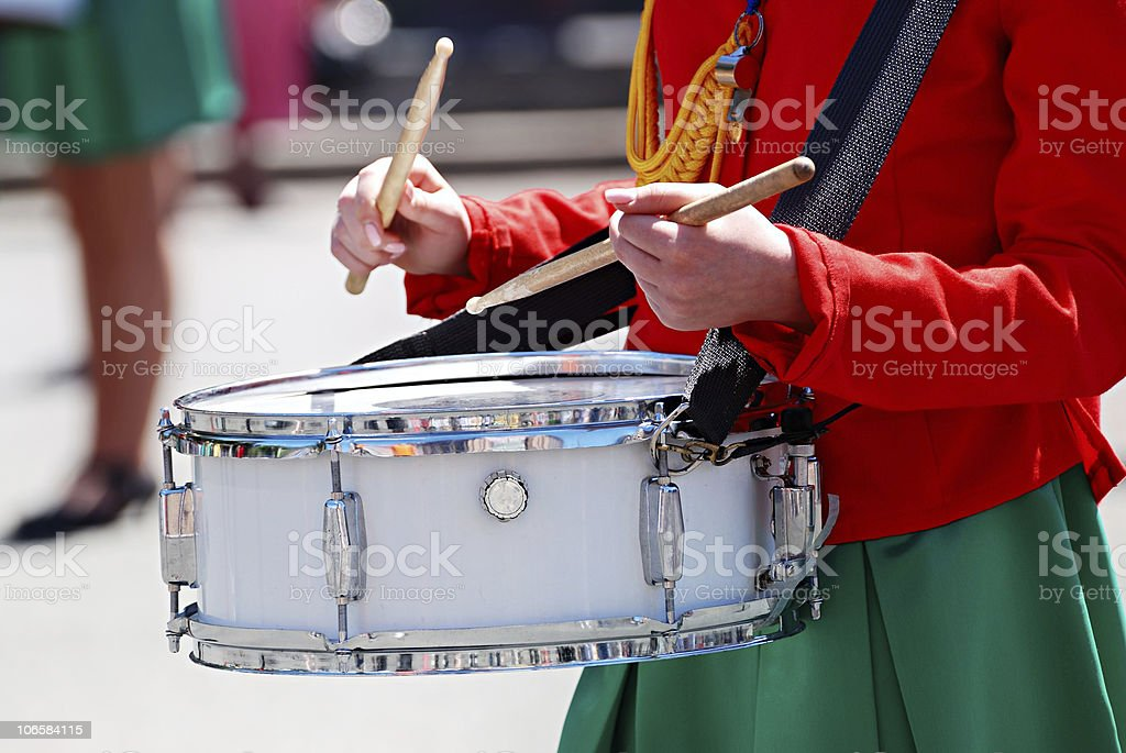 hands of woman with drumsticks stock photo