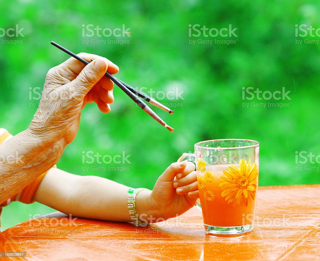 Hands of young and old artists royalty-free stock photo